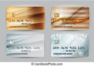 Gold and Silver Wave Bank Card blank model template top view with shadow isolated on transparent backgroundcollection set. Vector Illustration