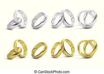 Gold and silver wedding, engagement rings isolated on white vector illustration