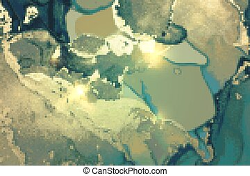 Gold and turquoise abstract alcohol ink marble texture