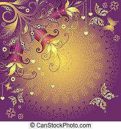 Gold and violet valentine frame