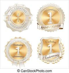 Gold and White 1st Anniversary Badge