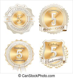 Gold and White 5th Anniversary Badge