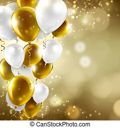 festive background - gold and white balloons on abstract ...