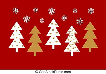 Gold and white Christmas trees on red background.