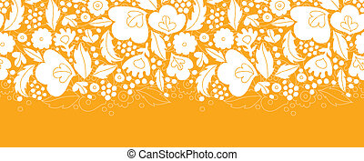 Gold and white floral silhouettes horizontal seamless pattern background
