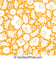 Gold and white floral silhouettes seamless pattern background