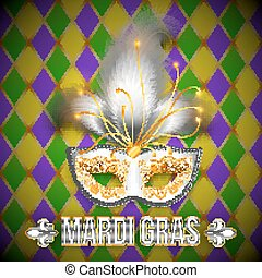 Gold and white vector carnival mask on colorful grid background