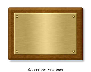 Plaque or sign consisting of a gold plate on wood. Isolated on White. Clipping path included.
