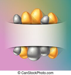 Gold andColorful Easter eggs banner