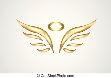 Gold angel logo icon vector