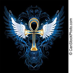 Gold ankh - gold ankh with white wings on a dark blue...