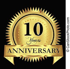 Gold anniversary 10 years gold vector design