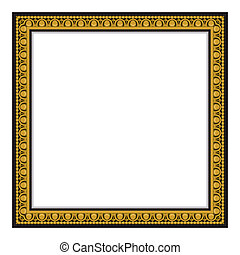 Gold antique frame isolated on whit