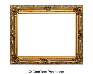 Gold antique frame isolated on white background. Including clipping path