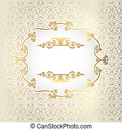 Gold antique frame on a background