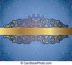 Gold antique frame on background