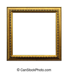 Gold antique square frame isolated on white background. Including clipping path