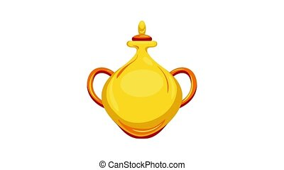 Gold arab vase icon animation best object on white background