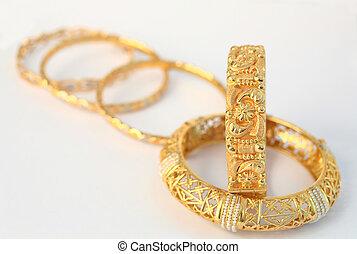 gold, armbänder, 10