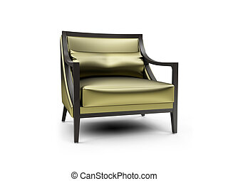 Gold armchair against white