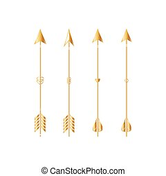 Gold arrows isolated on white background. Vector.
