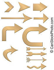gold arrows - Set of gold arrows (a gold surface and effect...