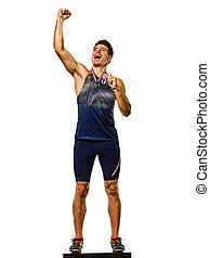gold, athletik, hintergrund, junger mann, athetle, medaillengewinner, freigestellt, weißes