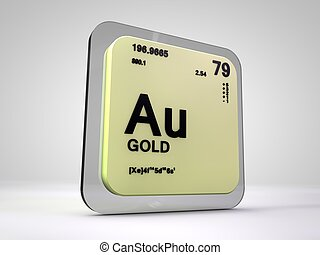 Gold - Au - chemical element periodic table 3d render