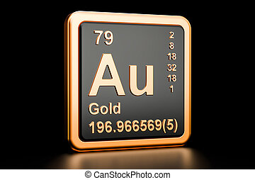 Goldau isolated blackboard with periodic table gold gold aurum au chemical element 3d rendering urtaz Images