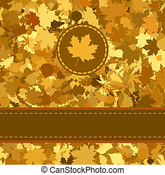 Gold autumn background with leaves. EPS 8