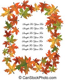 Gold Autumn Leaves Background frame. Vector