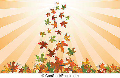 Gold Autumn Leaves Background . Vector