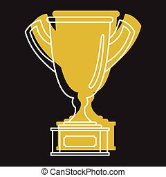 Gold award best sport cup in doodle style icons vector illustration for design