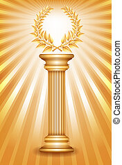 Gold award column with laurel wreath for jubilee text or...