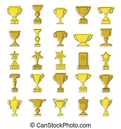 Gold award doodle cartoon icons set. Award doodle vector illustration for design and web isolated on white background. Gold award vector object for labels, logos