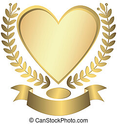Gold award-heart with ribbon (vector)