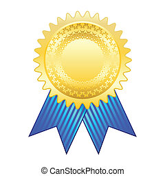 Gold award ribbon - Illustration of the gold medal with a...