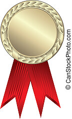 Gold award ribbons - This image is a vector illustration and...