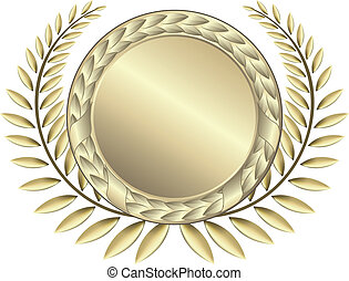 Gold award ribbons. This image is a vector illustration and can be scaled to any size without loss of resolution