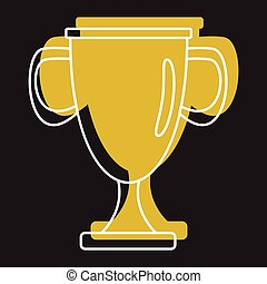 Gold award sport cup in doodle style icons vector illustration for design and web