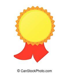 Gold award with ribbon icon, cartoon style
