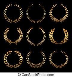 Gold award wreaths, laurel on black background. Vector