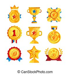Gold awards set, various trophy and prize emblems, golden shield, medal, cup and star vector Illustrations on a white background