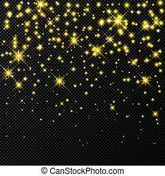 Gold backdrop with stars and dust sparkles isolated on dark ...
