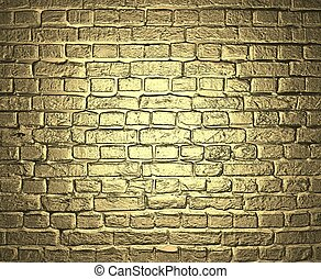 Gold background. Brick wall. Design template