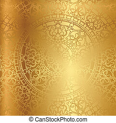 gold background - Vector gold background with floral...