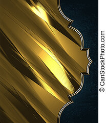 Gold background with a blue edges. Design template. Design site.