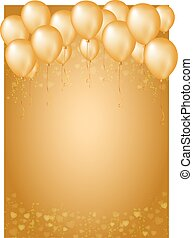 Gold background with border of hearts and balloons