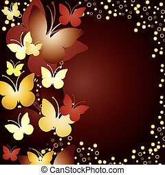 Gold background with butterflies, vector illustration