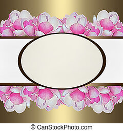 gold background with pink magnolia